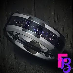 Size 10 Tungsten Mens Purple Goldstone Ring